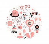 Valentines Day Design Set With Hand Drawn Elements, Broken Heart, Lips, Love Text, Piece Of Cake, Mu poster