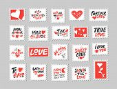 Love Post Stamps Set. Love Quotes, Sayings. Hand Drawn Lettering And Illustration With Hearts. Be Mi poster