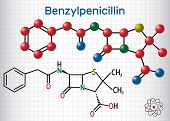 Benzylpenicillin (penicillin G) Drug Molecule. It Is Beta-lactam Antibiotic. Structural Chemical For poster