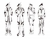 Stylish Handsome Man In Fashion Clothes. Fashion Man. Hand Drawn Male Models Set. Sketches. Handsome poster