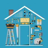 Set Of Diy Home Repair Working Tools Vector Logo Design Template Under Roof In Home Shape. Home Repa poster