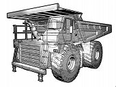 image of jcb  - Sketchy blueprint illustration of an Earthmover in black an white - JPG