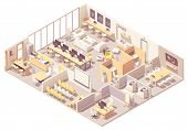 Vector Isometric Modern Coworking Space Interior Plan With Open Space, Workplaces, Conference Room,  poster