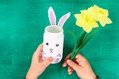 Diy Easter Vase Bunny From Glass Jar, Felt, Googly Eyes On A Green Background. Gift Ideas, Decor For poster