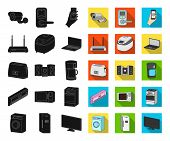 Smart Home Appliances Black, Flat Icons In Set Collection For Design. Modern Household Appliances Ve poster