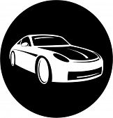 Vector car icon. Black and white. Simply change. In my portfolio there is version 4 in 1.