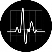 Vector cardiogram icon. Black and white. Simply change. In my portfolio there is version 4 in 1.