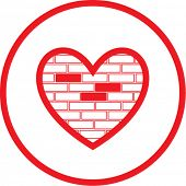 Vector heart and stone wall icon. Red  and white. Simply change. In my portfolio there is version 4 in 1.