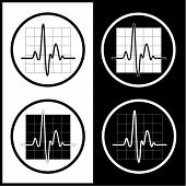 Vector cardiogram icons. Black and white. Simply change.