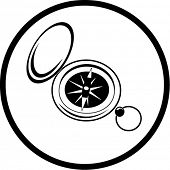Vector compass icon. Black and white. Simply change.