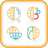 Vector abstract internet icons. Orange set. Simply change. Other abstract icons you can see in my po