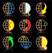 Vector internet icons. Globe set. Simply change.