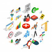Determination Icons Set. Isometric Set Of 25 Determination Vector Icons For Web Isolated On White Ba poster