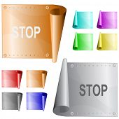 Stop. Vector metal surface.