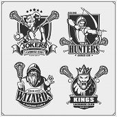 Lacrosse Badges, Labels And Design Elements. Sport Club Emblems With Hunter, Wizard, King And Joker. poster