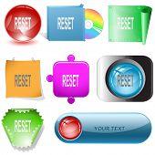Reset. Vector internet buttons.