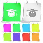Graduation cap. Vector note papers.