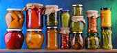 Jars With Variety Of Pickled Vegetables And Fruits poster