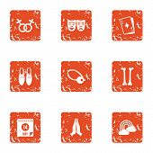 Love Relationship Icons Set. Grunge Set Of 9 Love Relationship Icons For Web Isolated On White Backg poster