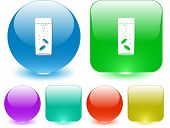 Glass with tablets. Vector interface element.