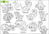 Cute Cartoon Prehistoric Dinosaurs, Coloring Book, Set Of Images poster