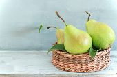 Juicy Flavorful Green Pears On Gray Wooden Table. Fruit Background. Still Life With Fresh Pears In R poster