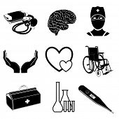 Raster icons of medical elements