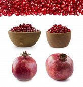 Set Of Pomegranates. Pomegranate Isolated On White Background. Sweet And Juicy Garnet With Copy Spac poster