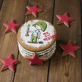 Gingerbread Cookies Casket With Decor On 23 February Holiday - Red Stars Cookie, Little Soldier With poster