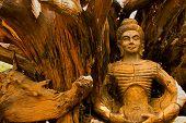 Wooden Sculpture Of Buddah Thailand