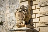 Sculpture Of Lion With Emblem, Mdina, Malta