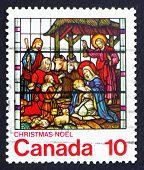 Briefmarke Kanada 1976 Krippe, gebeizt glasswindow
