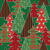 Christmas Tree Patchwork Fabric