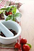 Herbs With Peppercorns And Tomatoes
