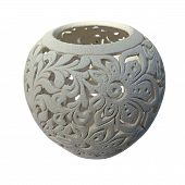 Decorative Clay Vessel With Pattern Isolated Over White