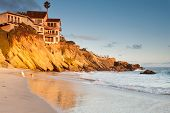 picture of southern  - Luxurious house on cliffs in Southern California beach with playing dogs on the beach at sunset - JPG