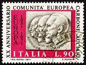 Postage stamp Italy 1970 Adenauer, Schuman, De Gasperi