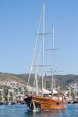 Sailing Boat Leaving Bodrum Marina, Turkey