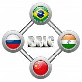 Bric Countries Buttons Brazil Russia India China
