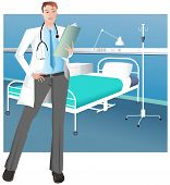 Male doctor in hospital ward