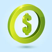 Green dollar symbol isolated on blue background