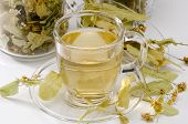 foto of lime-blossom  - Lime Blossom Tea in a glass cup - JPG