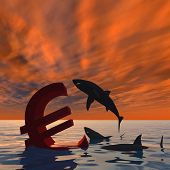 High resolution conceptual bloody euro symbol or sign sinking in water or sea, with black sharks eating at sunset square background