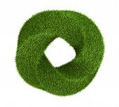 Green grass abstract shape donut