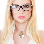 Beautiful Young Serious Woman In Glasses