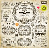 Vintage set of calligraphic design elements: page decoration, Premium Quality and Satisfaction Guara
