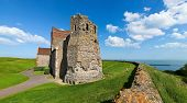Panoramic view of the St Mary in Castro church in the grounds of Dover Castle in England