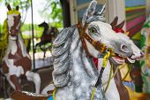 stock photo of funfair  - vintage white carousel horse at summer funfair - JPG