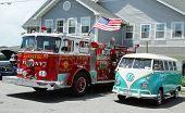 Fire truck and 1966 Volkswagen Bus Vanagon on display