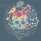 Vector seamless background with skull in flowers and bird singing. Spring floral concept card in mex